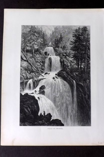 Picturesque Europe 1870s Antique Print. Falls of Triberg, Germany
